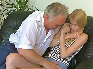 Skinny Teen Groped By Old Pervert And Fucked On A Couch